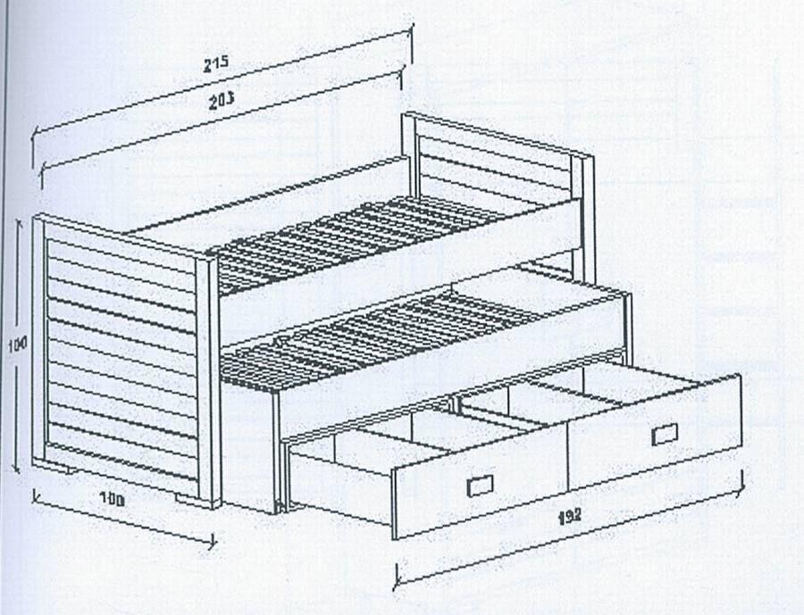 Compacto con cama nido y bajo con somier mod 2 muebles for Como hacer una cama nido con cajone