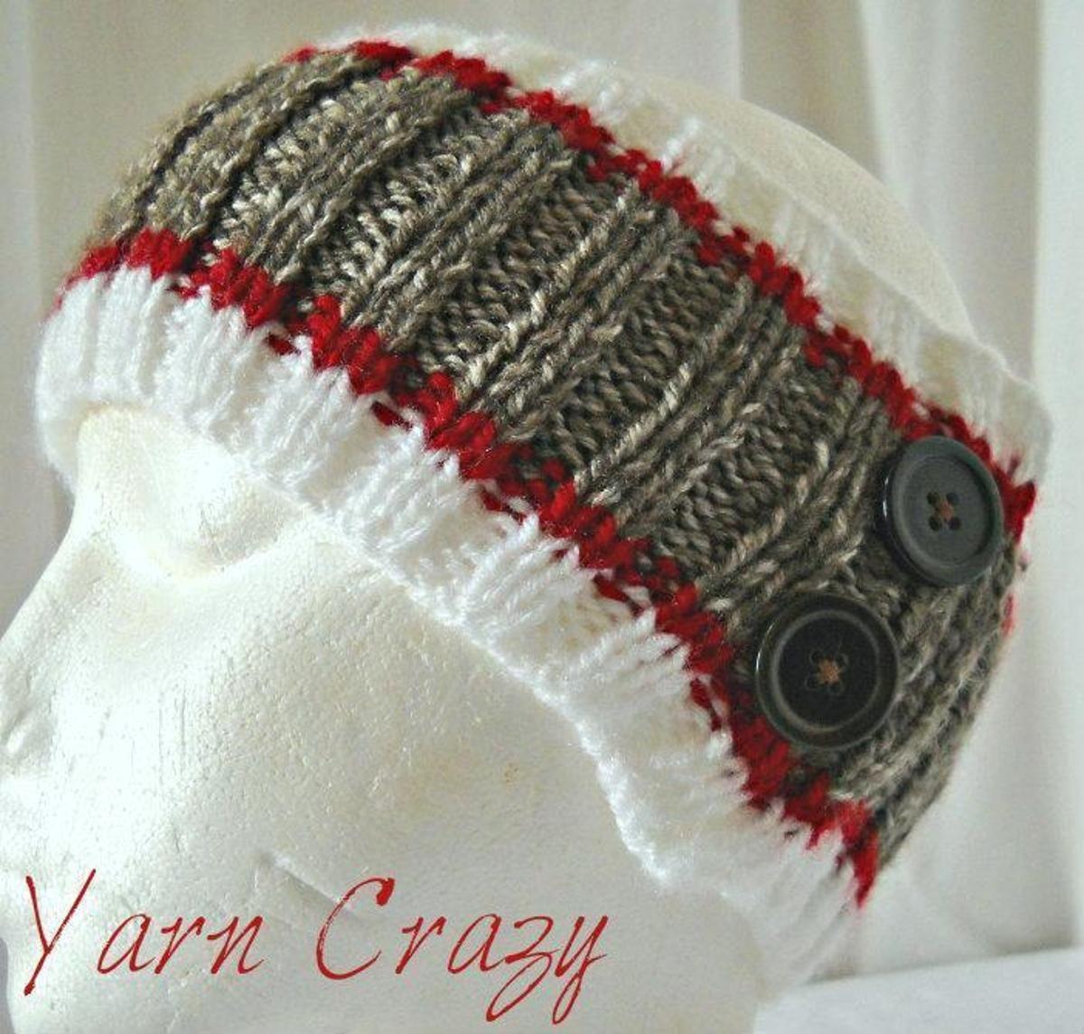 Sock Monkey Ribbed Knitted Ear Warmer | Monkey, Socks and Crochet