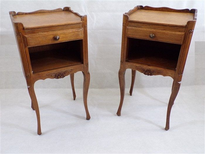 pair of nightstands vintage wooden nightstand style louis xv side table furniture old shabby. Black Bedroom Furniture Sets. Home Design Ideas