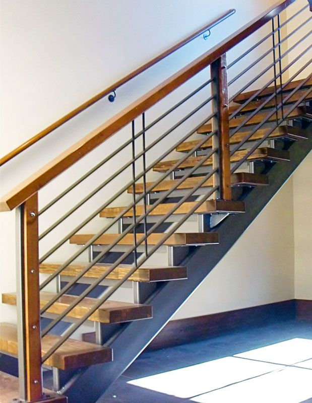 Railing Design Metal And Wood Combo Railing Design Wood Posts   Stair Railing Wood And Steel   Stair Inside   Baluster   Tall Stair   Indoor Stair   Solid Wood