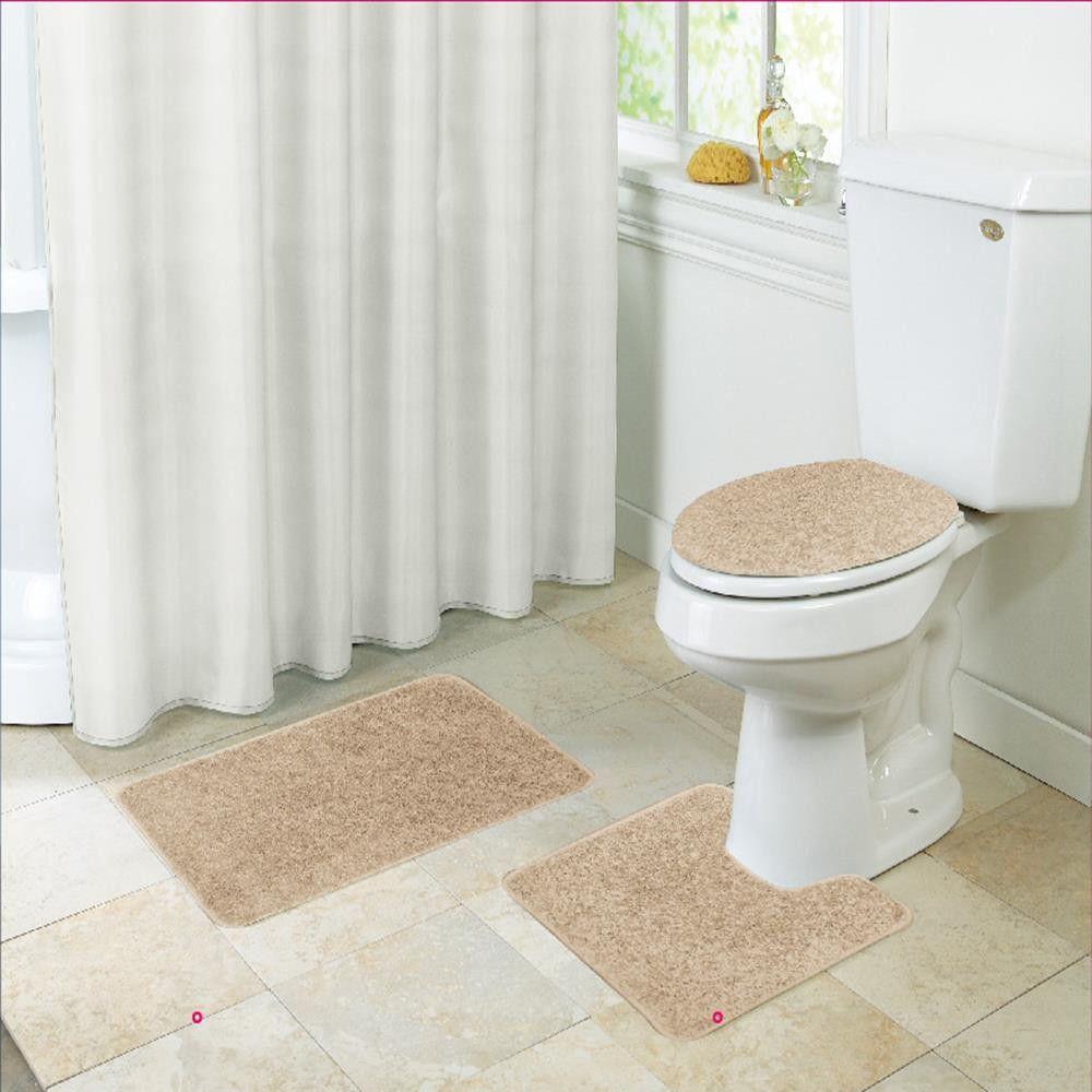Layla Shaggy Style 3 Piece Bathroom Set, Bath Mat, Contour ...