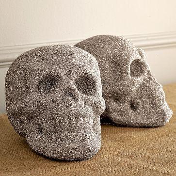 glittered skulls - should be easy to do with Martha Stewart glitter