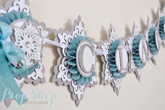 snow princess winter wonderland snowflake birthday banner baby