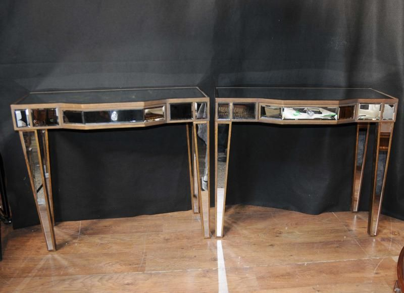 Mirror Hall Table pair mirrored deco console tables hall tables mirror furniture