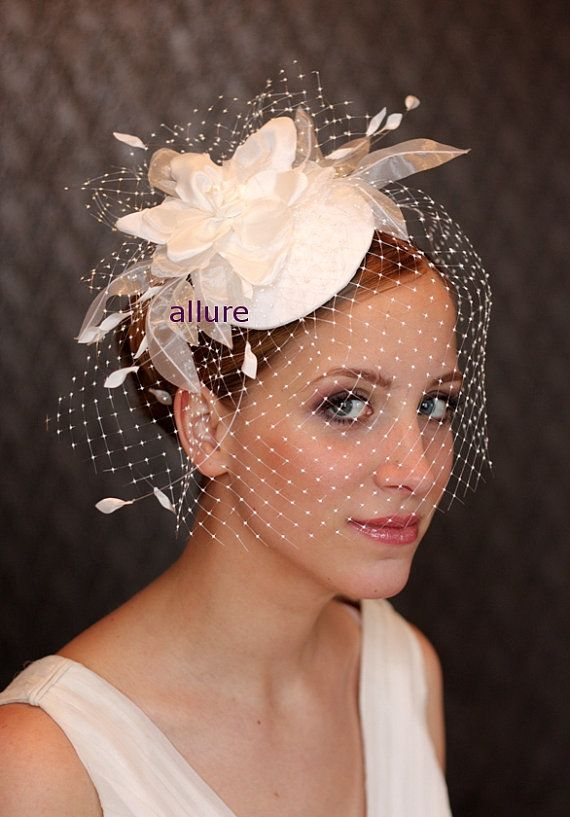 73eda232 Birdcage veil. Fabulous and simply elegance wedding hat with plastic veil.  Decoration - amazing flowers. Bridal hat hand made with much attention to  detail.
