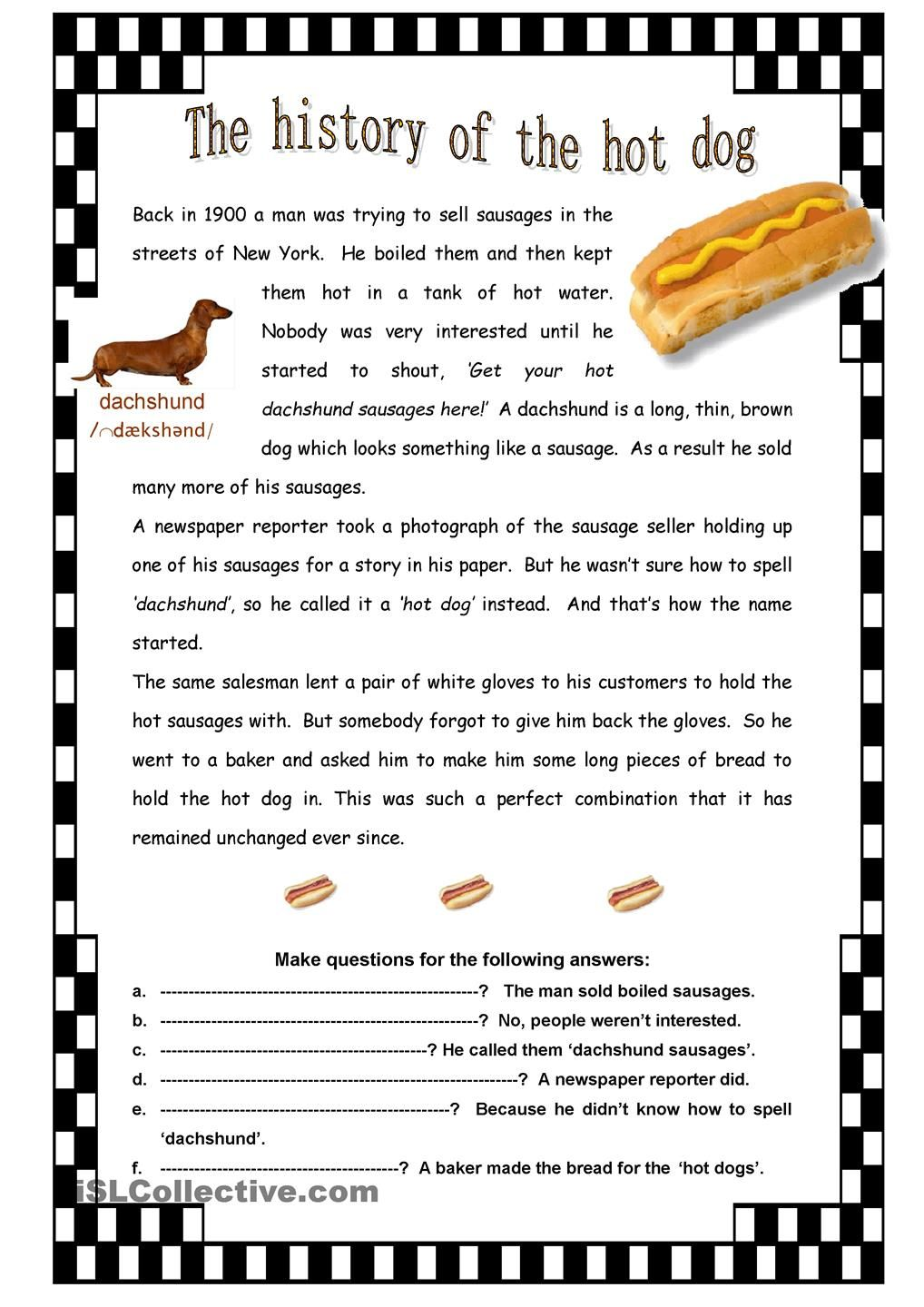 The History Of The Hot Dog Hot Dogs Reading Comprehension For Kids All About Me Preschool [ 1440 x 1018 Pixel ]