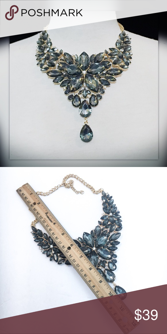 Fashion Gold Chain Iridescent Acrylic Crystal Statement Pendant Bib Necklace New