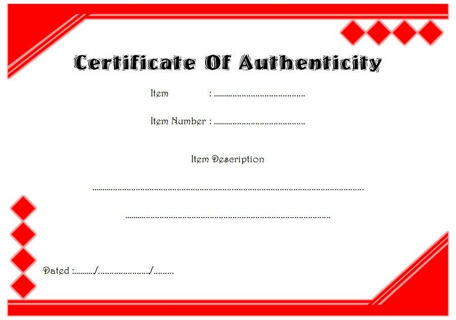 Certificate Of Authenticity Painting Free Printable In 2021 Template Free Certificate Templates Templates