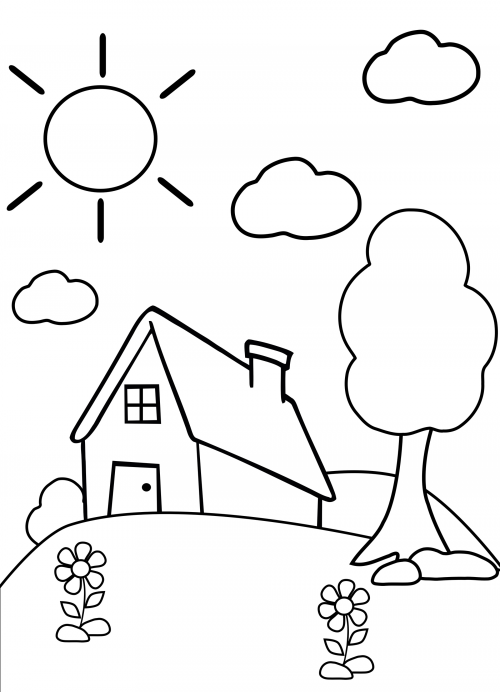 Preschool Coloring Page  House  Activities Image search and