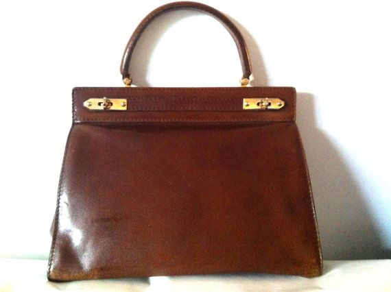 French Vintage Brown Leather Handbag Kelly Micarl By Laminuinette