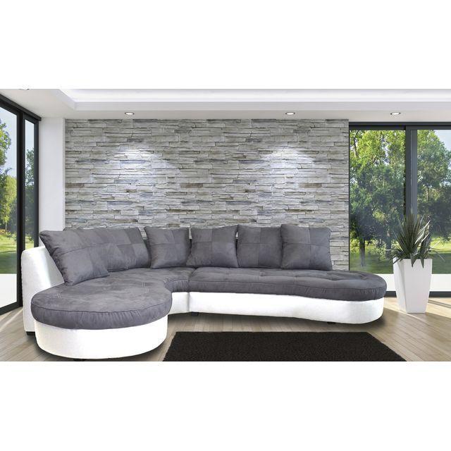 JADE Canapé du0027angle à gauche, tissu et simili, gris et blanc