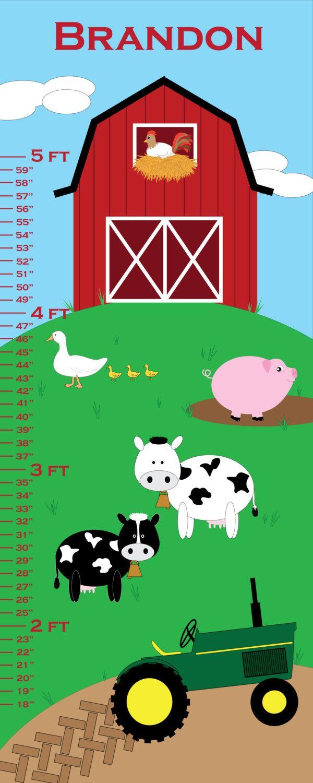 Personalized Growth Chart - On the Farm Theme - Nursery Art - 24 x 60. $50.00, via Etsy.