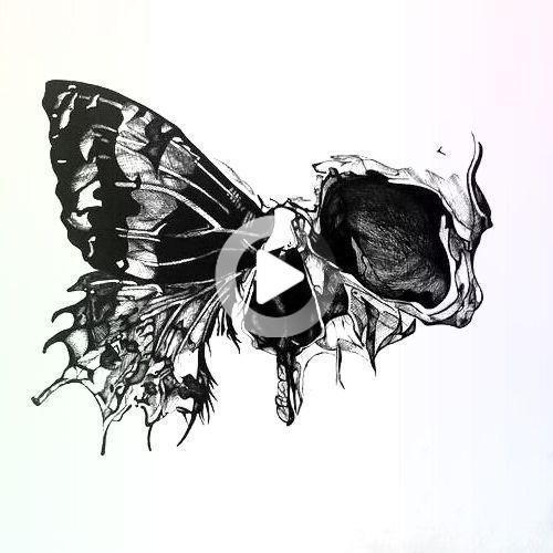 Photo of Half Skull Butterfly Tattoo Design – #design #hale # schadel… – Half Skull … … –  Half Skull