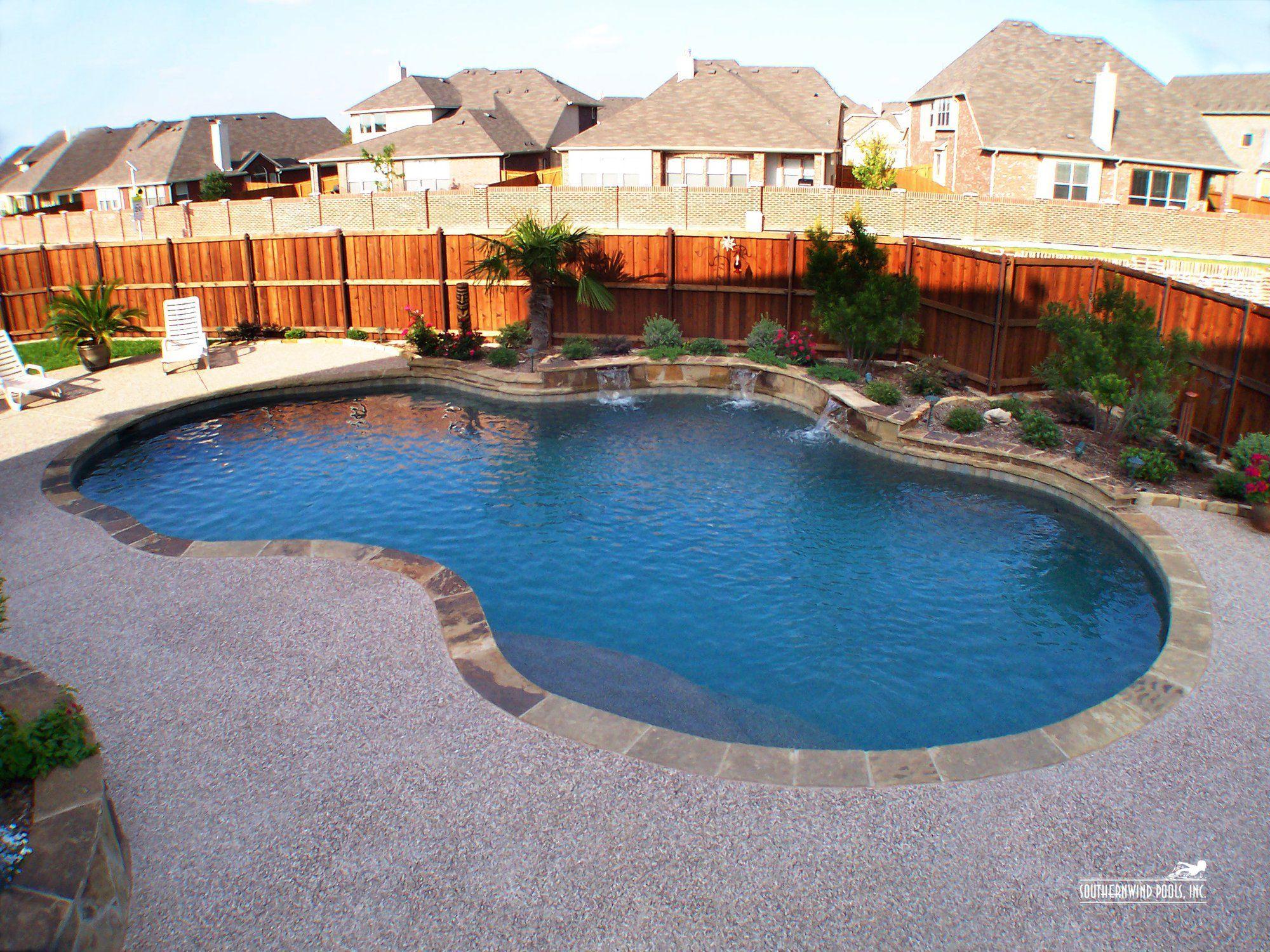 Pearland | Custom inground pools, Pool, Freeform pools |Small Freeform Pools With Waterfalls