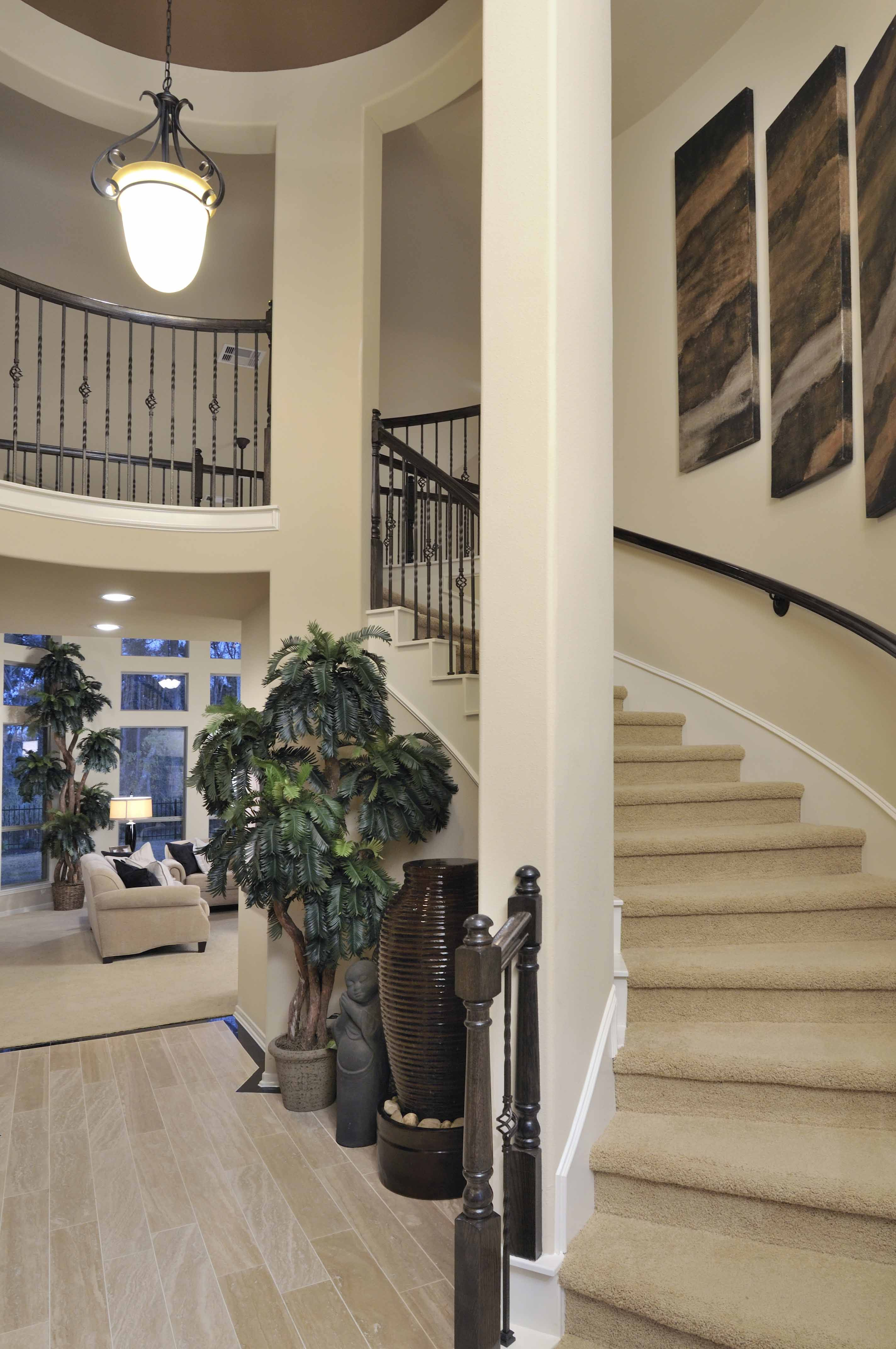 Westin Homes Houston Home Builders Curved Staircase Dark