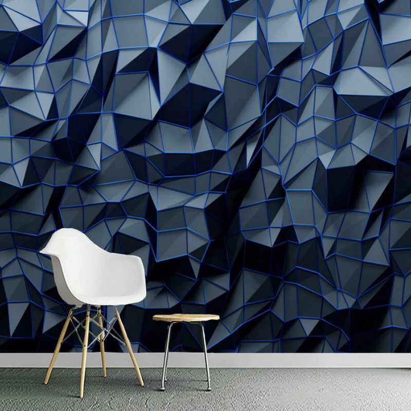 Modern Abstract 3d Stereoscopic Navy Blue Geometric Polygon Mural Wallpaper 3d Bar Office Studio Industrial Decor Wall Paper 3d In 2020 Wandtapete Tapeten Wandbilder Und Vinyl Wallpaper
