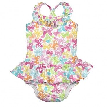47a4682305 One-piece Ruffle Swimsuit with Built-in Reusable Absorbent Swim Diaper
