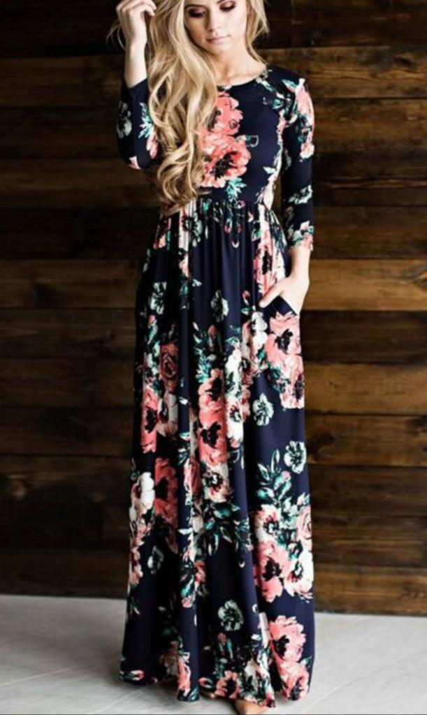 c37d6e329d6 Navy Floral Long Sleeve Maxi Dress in 2019