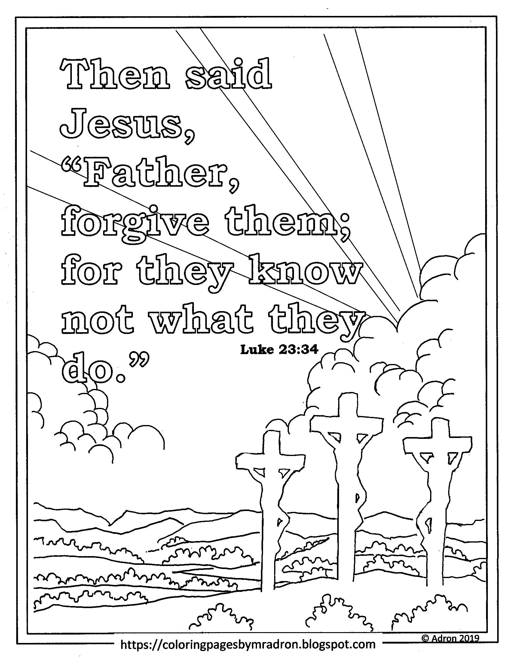 Easter Print And Color Page With Christ On The Cross With The Two Thieves Bible Lessons For Kids Bible Verse Coloring Page Kids Pages