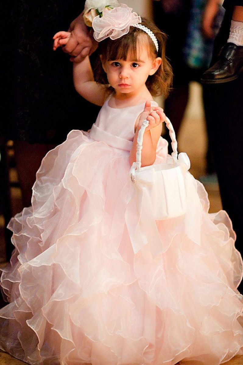Pink Organza Ball Gown Flower Girl Dresses With Ruffle Skirt Ard1768
