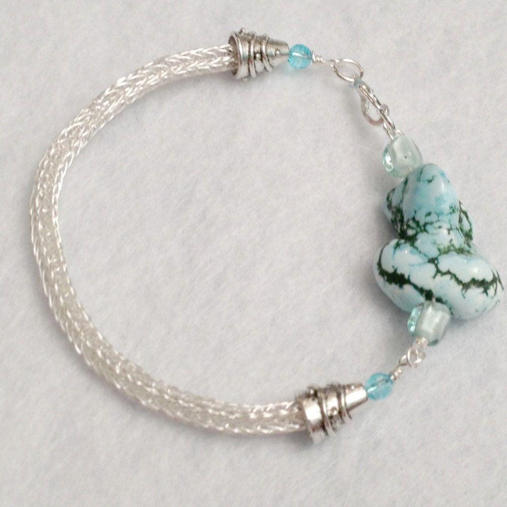 Turquoise nugget silver viking knit bracelet, $29