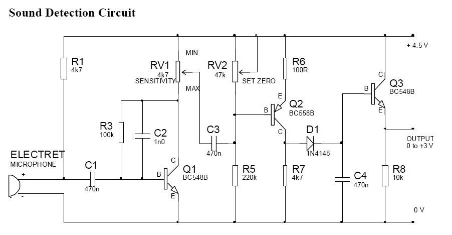Sound detection circuit diagram Circuit diagram