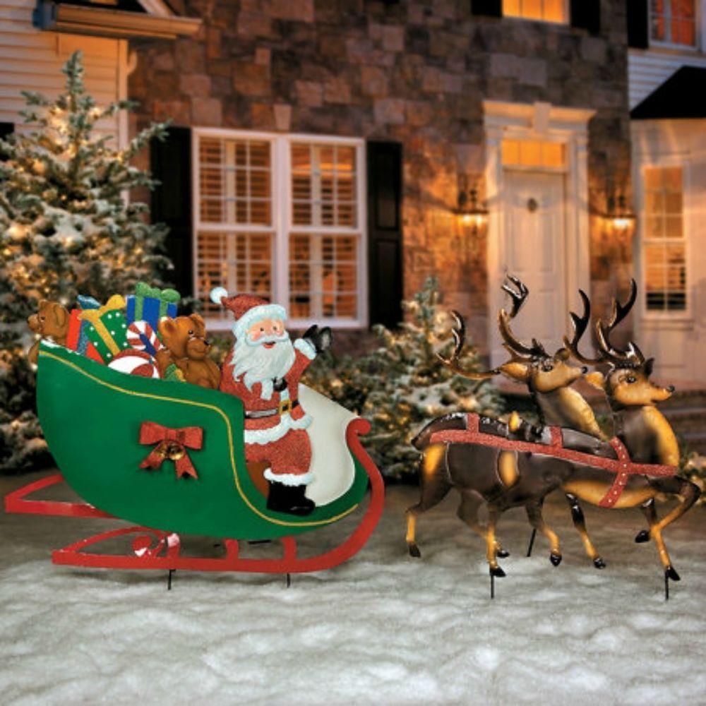 Christmas Santa Sleigh Reindeer Decoration  from i.pinimg.com