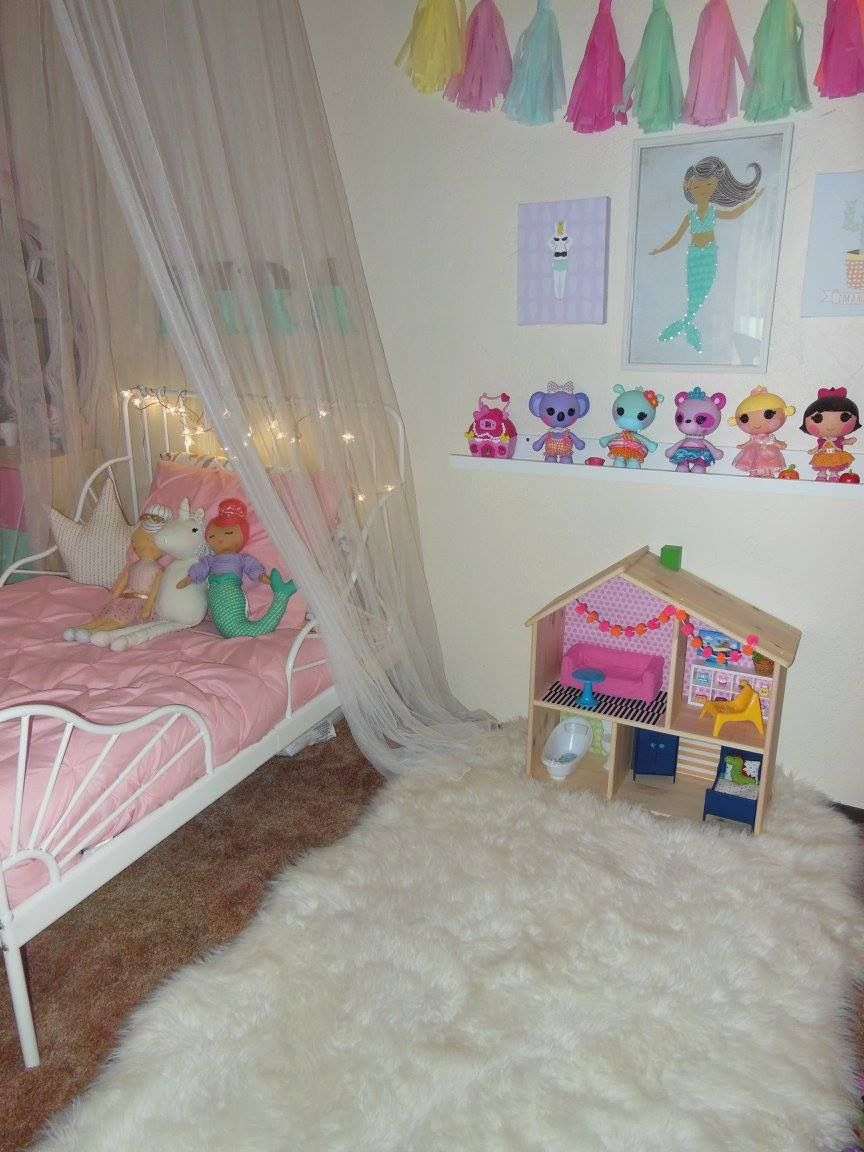 Toddler Girl Bed With IKEA Minnen Frame And Target Pillowfort Bedding