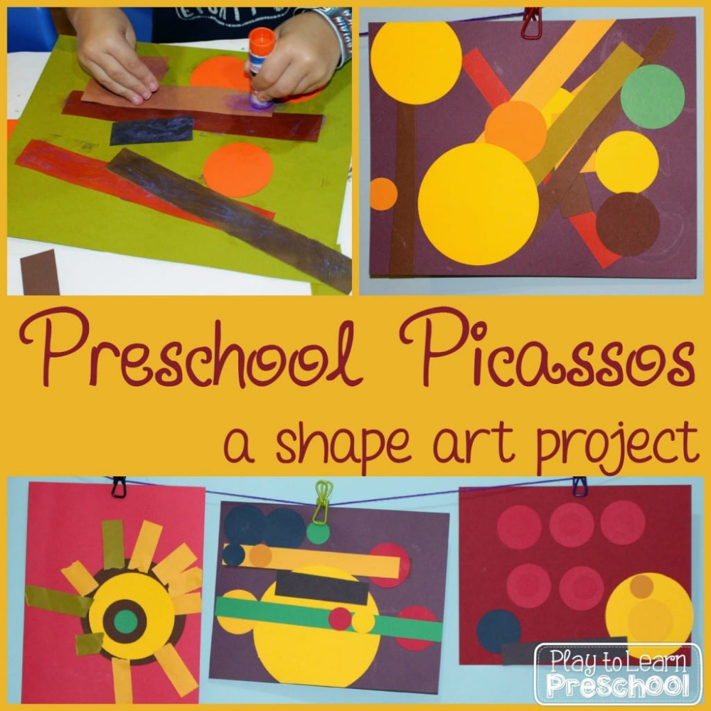Preschool Picasso Shape Process Art for Preschoolers