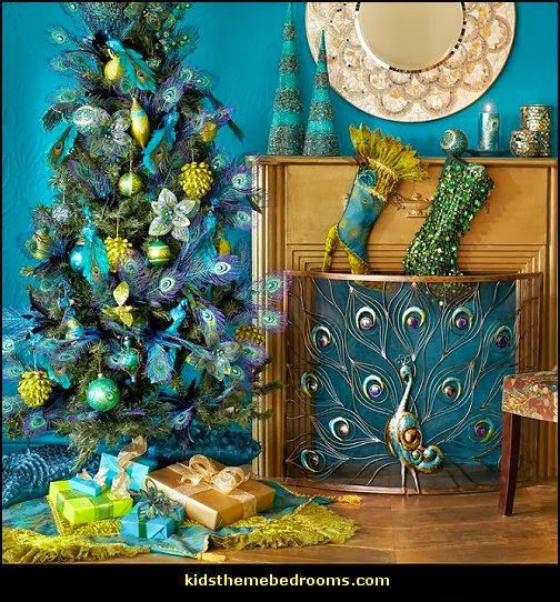 Peacock theme decorating - peacock theme decor - exotic style - peacock christmas decorations