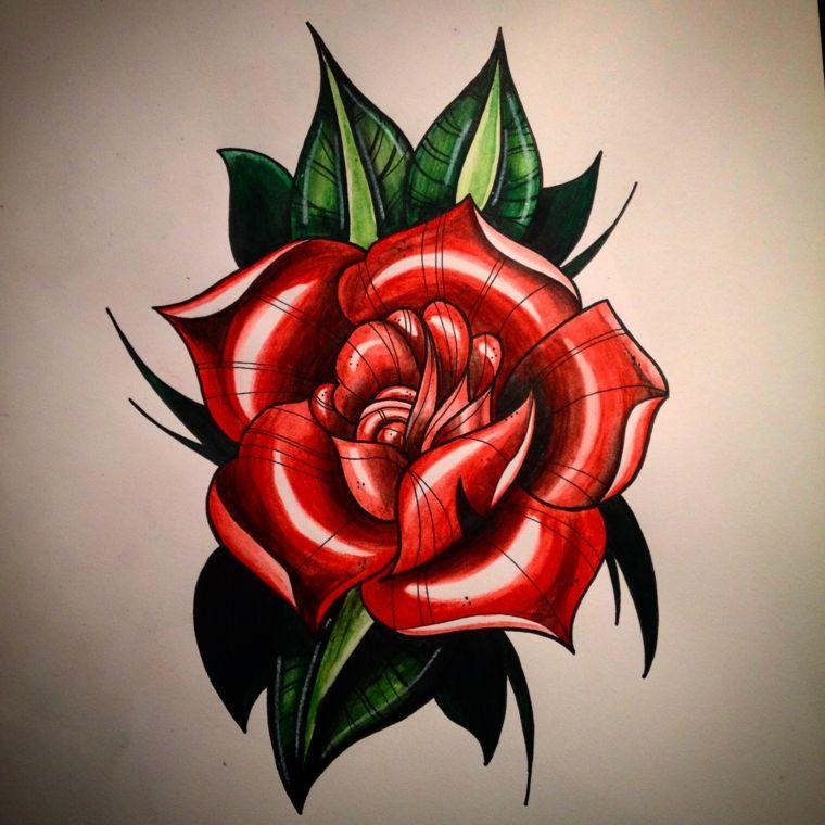Immagine A Colori Di Una Rosa Rossa Con Foglie Verdi Significato