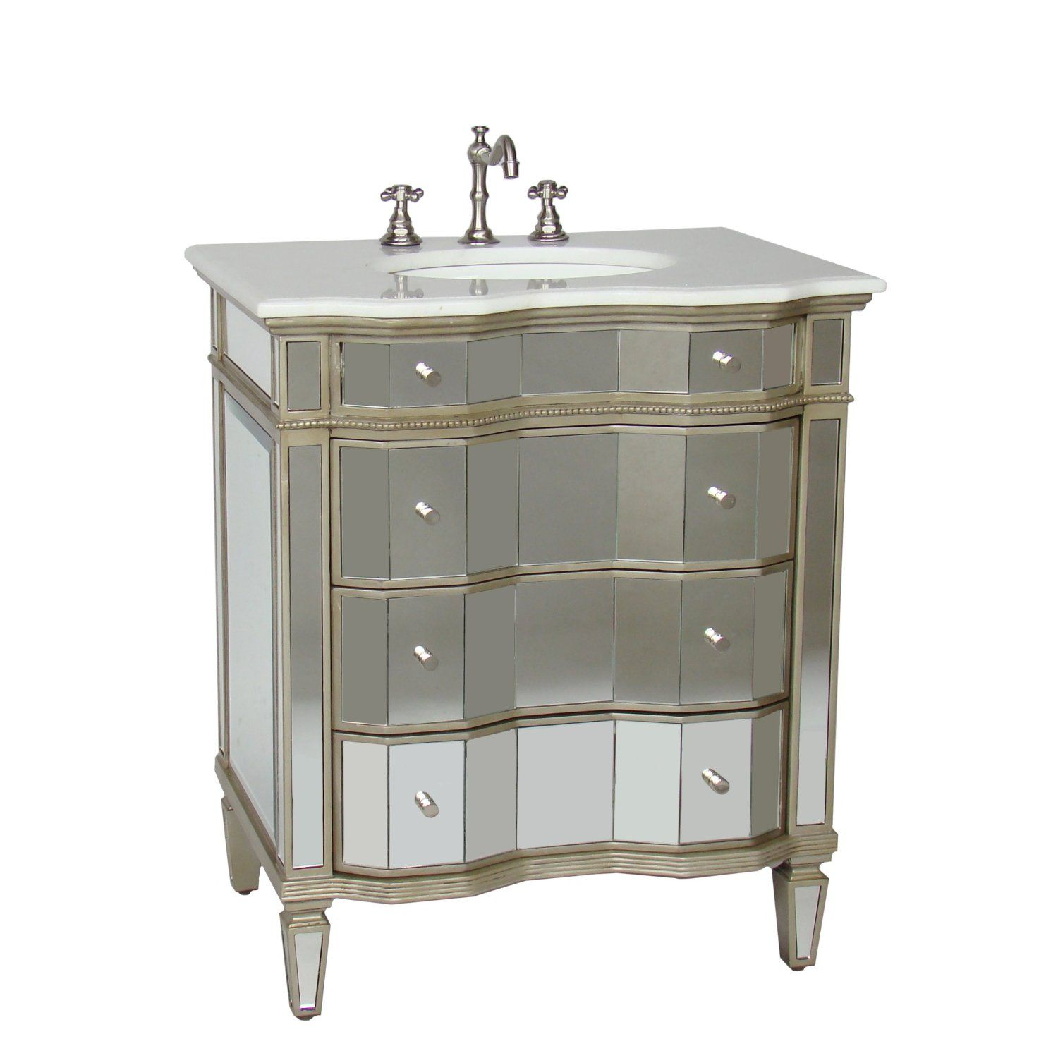 Awe Inspiring Mirrored W Silver Trim Bathroom Sink Vanity Cabinet 2 For Download Free Architecture Designs Grimeyleaguecom