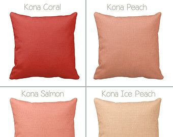 Throw Pillow Cover Peach and White