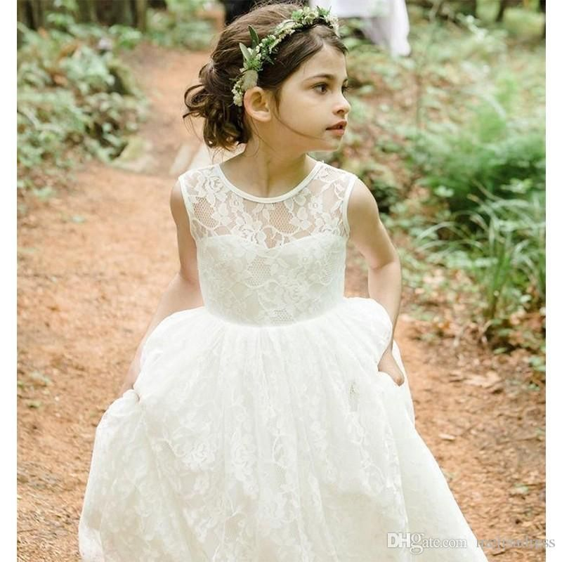Cheap Fashion Ivory Lace Ball Gown First Communion Dresses For Girls ...