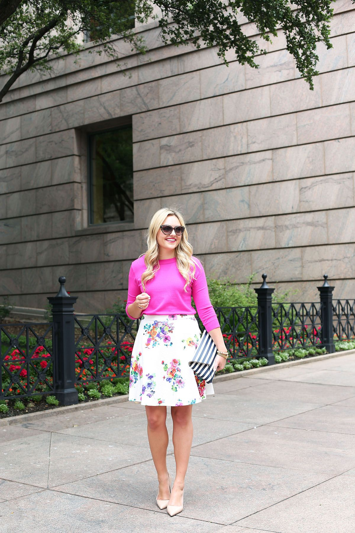 Spring Outfit Bows Sequins Fl Skirt Pink Sweater Navy Blue Striped Clutch Kate Spade Pumps