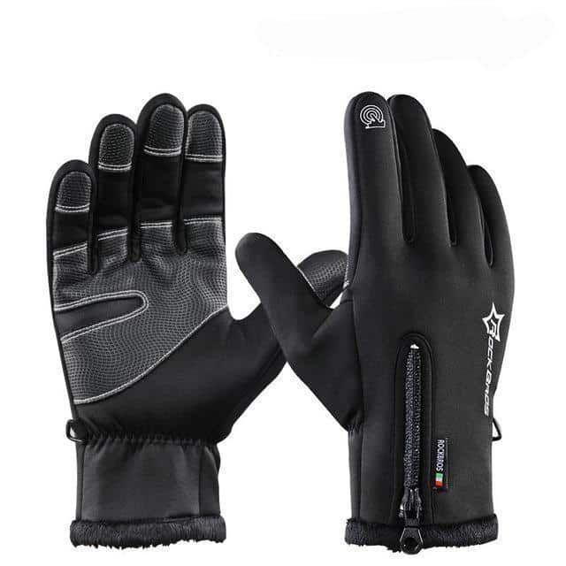 Men Winter Cycling full finger Gloves Fleece Thermal Bike Windproof  Warm Gloves