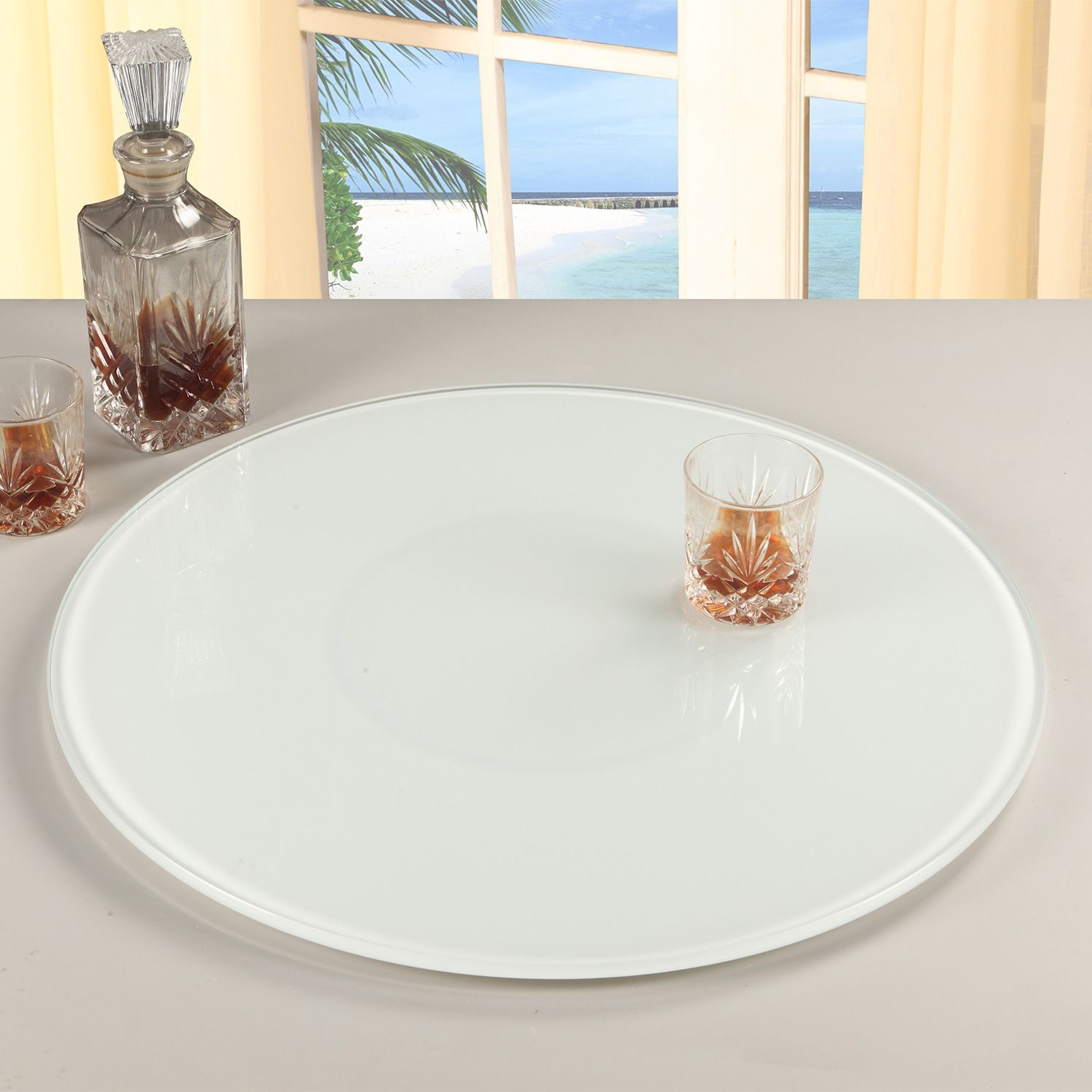 Chintaly Imports Lazy Susan 24 Wht 24 Round Glass Rotating Tray