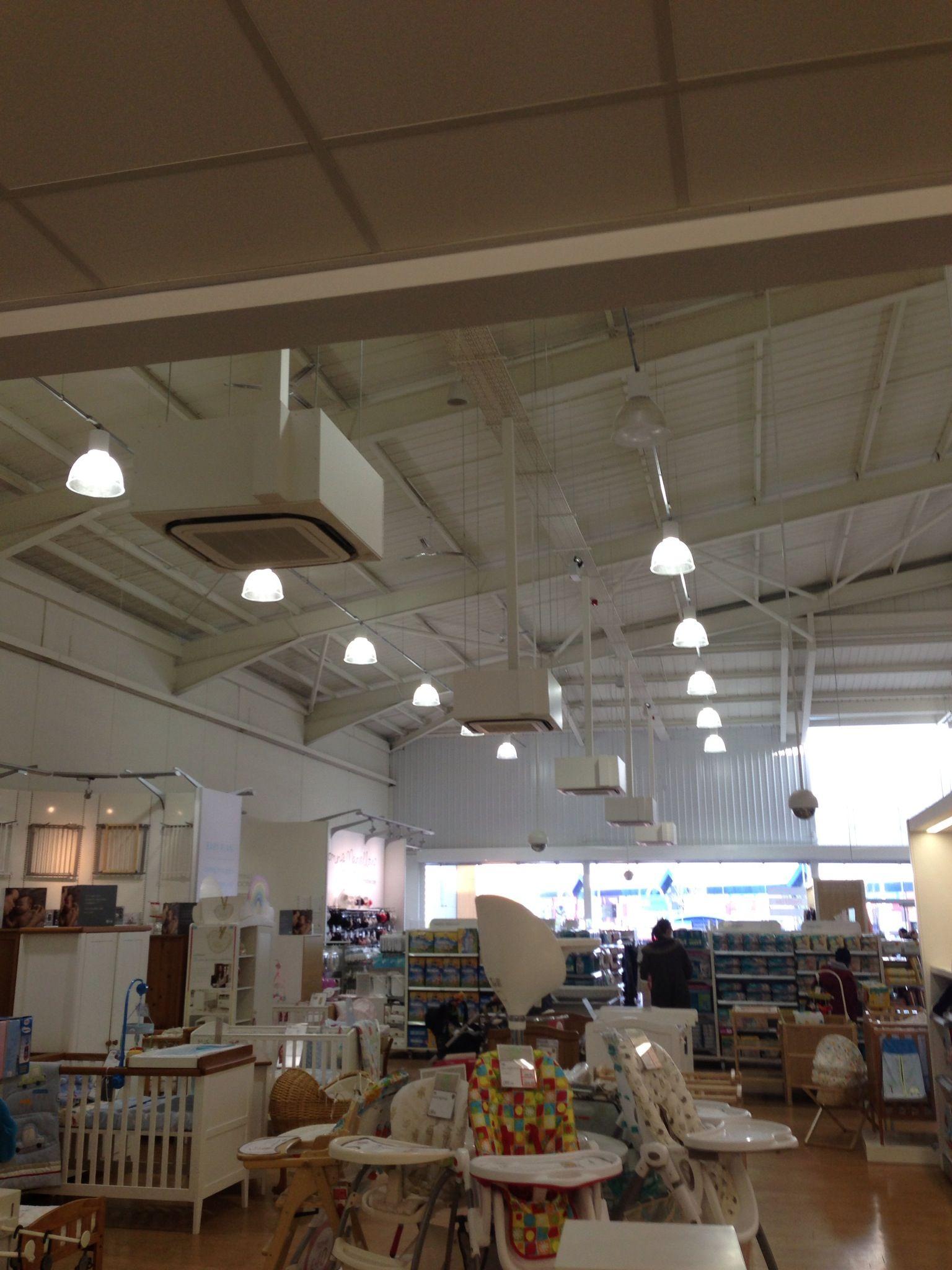 Daikin Roundflow Cassettes Installed In Nottingham Superstore Installation Ceiling Lights Track Lighting