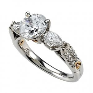 Sarit Bridal Pear Shape and Pave Diamond Semi Mounting & Pink Diamond Accents