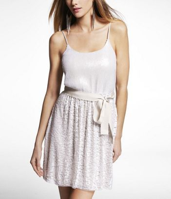 Sequined Cami Dress from Express (for bridal shower maybe?)... ON SALE