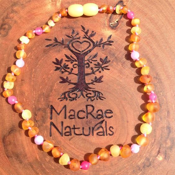 Custom Raw Baltic Amber Teething Necklace in by MacRaeNaturals, $33.95