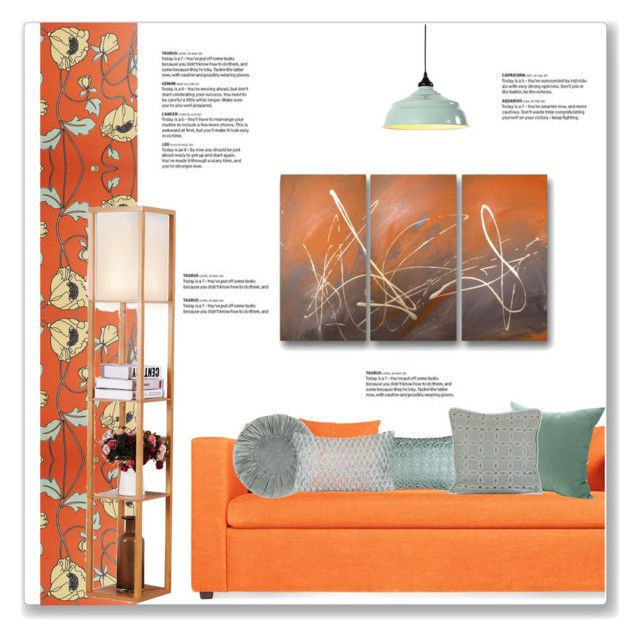 Orange Mint Living Room By Kellylynne68 Liked On Polyvore Featuring Interior