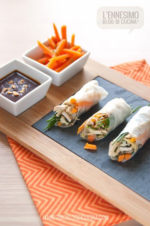 Involtini vietnamiti di carta di riso con maiale e verdure | Pinterest