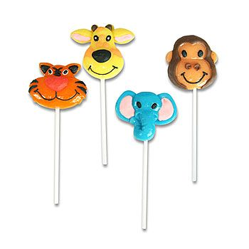 Our Zoo Animal Lollipops have the look of childlike tigers, giraffes, elephants and monkeys.  #CircusParty
