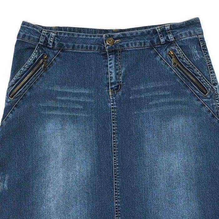 Clothing, Shoes & Accessories Women's Clothing Jeanology Long Denim Maxi Skirt Boho Grey Modest Sz 10 No Slit Fit N Flare