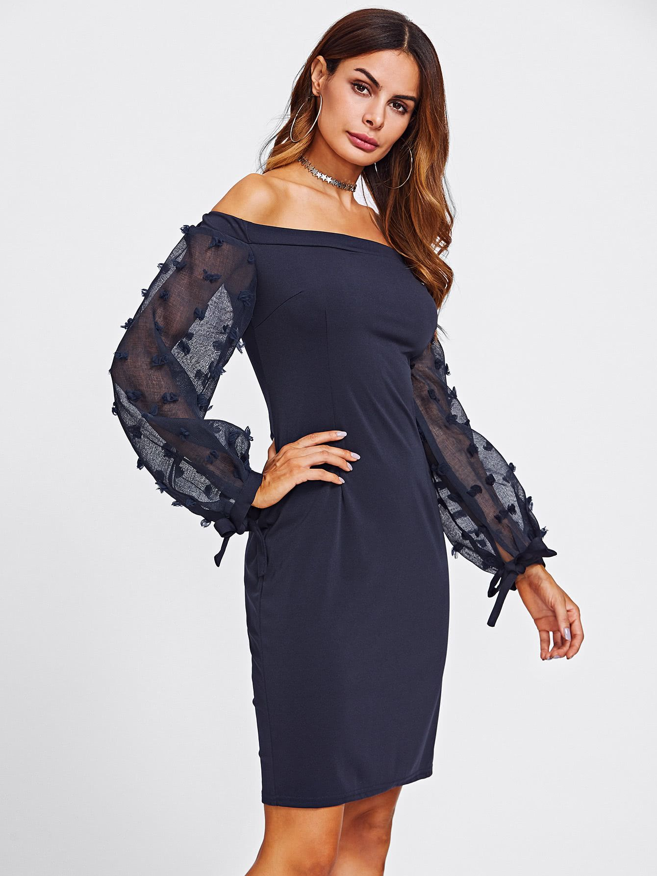 5505333aa01ec Bardot Jacquard Mesh Sleeve Slit Back Dress -SheIn(Sheinside) | It's ...