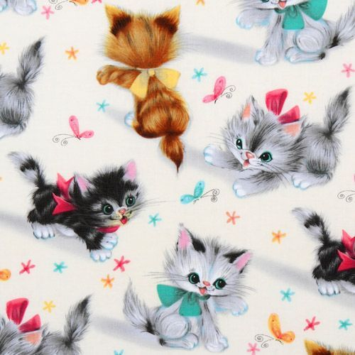 Cute michael miller vintage fabric kitty kitties designer for Cute baby fabric prints