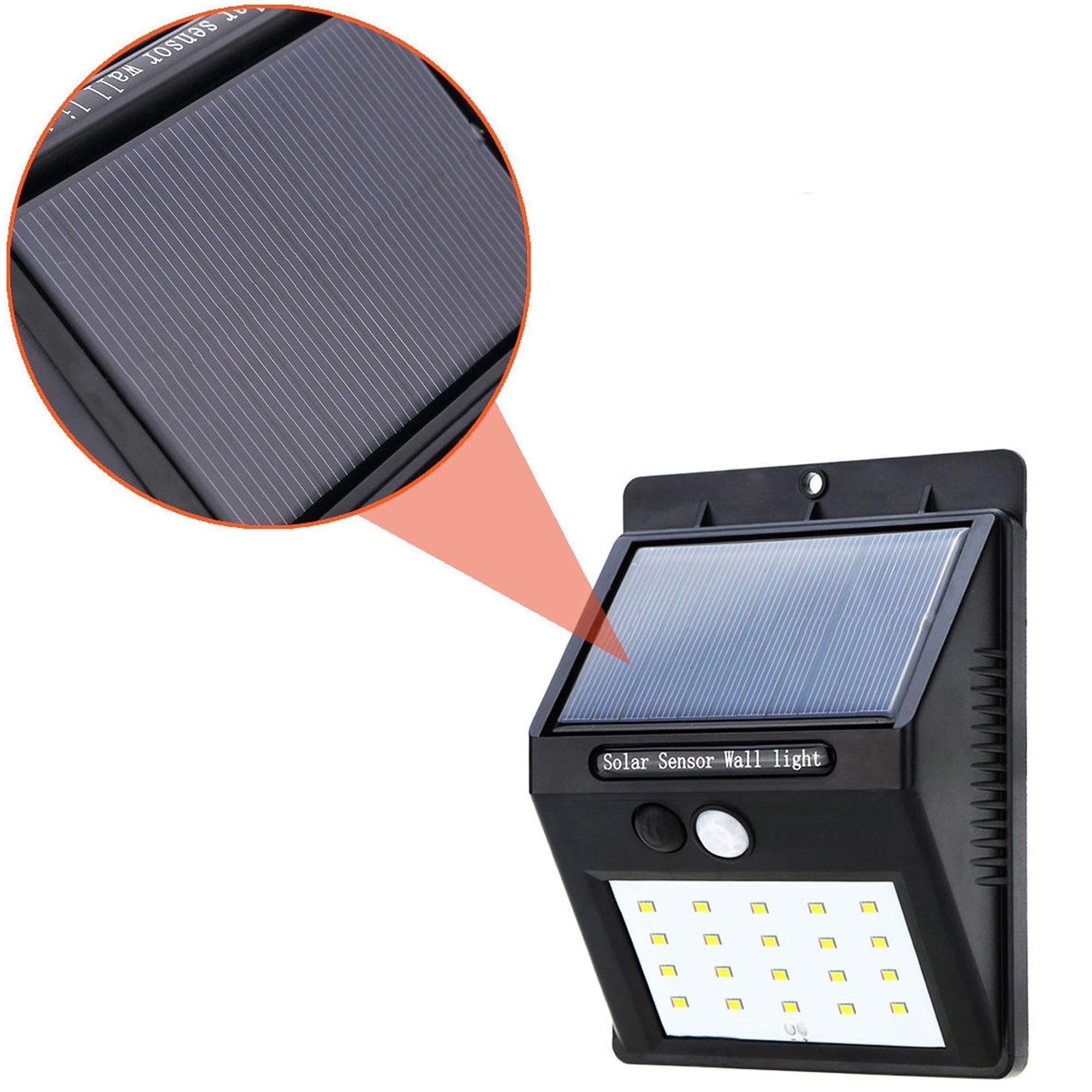 Faretto Faro 20 Led Con Pannello Solare Sensore Di Movimento
