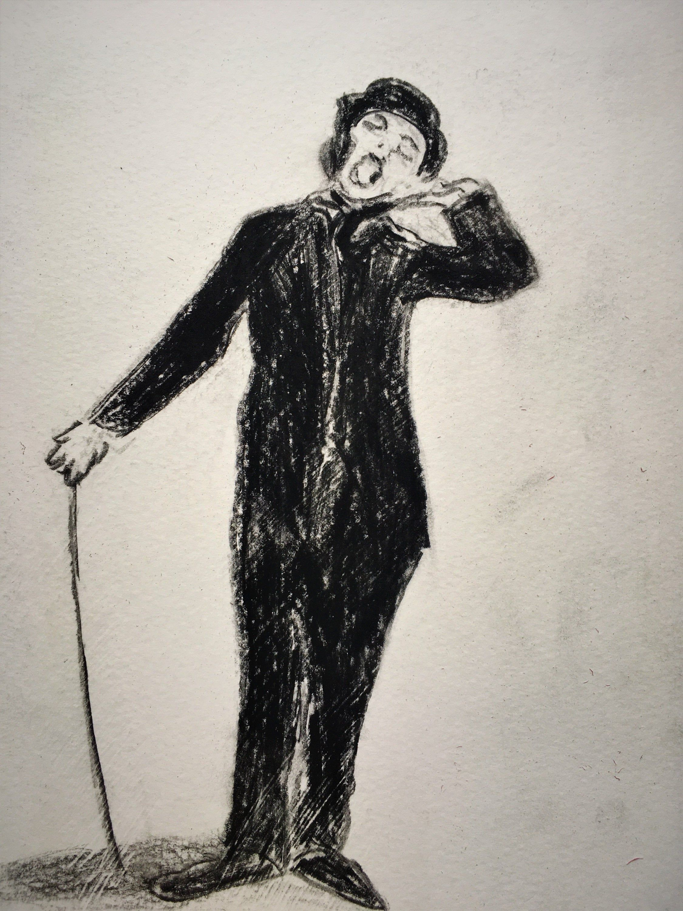 1920's version of the Tramp. Charlie Chaplin look-a-like, Silent Film Era, Black & White, Vintage, Charcoal - Instant Download