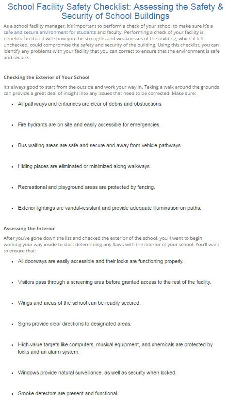 school facility safety checklist  assessing the safety
